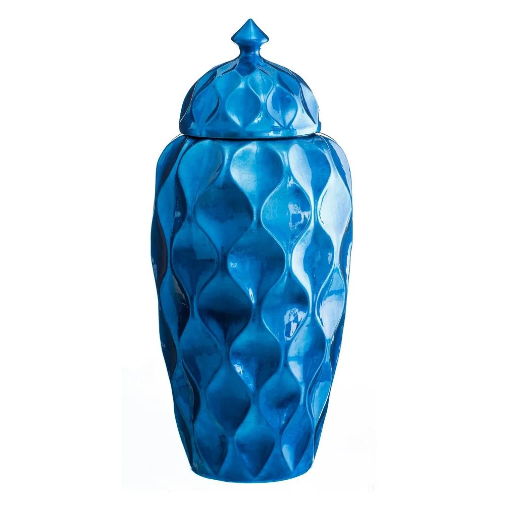 Jarrón Tibor de Cerámica Azul 58 cm