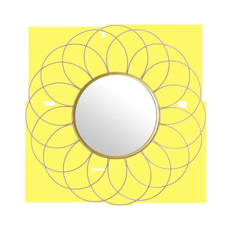 Espejo Flor Metal Oro 42 cm