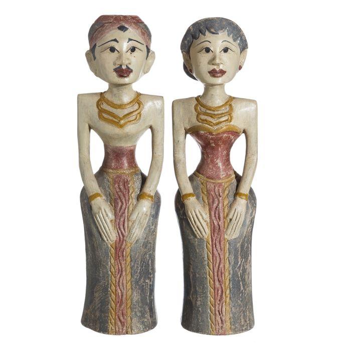 S/2 Figuras Mujeres Madera 50cm