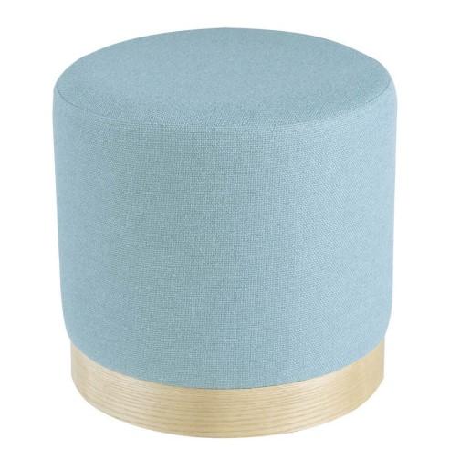 Puf Tejido Azul - Madera