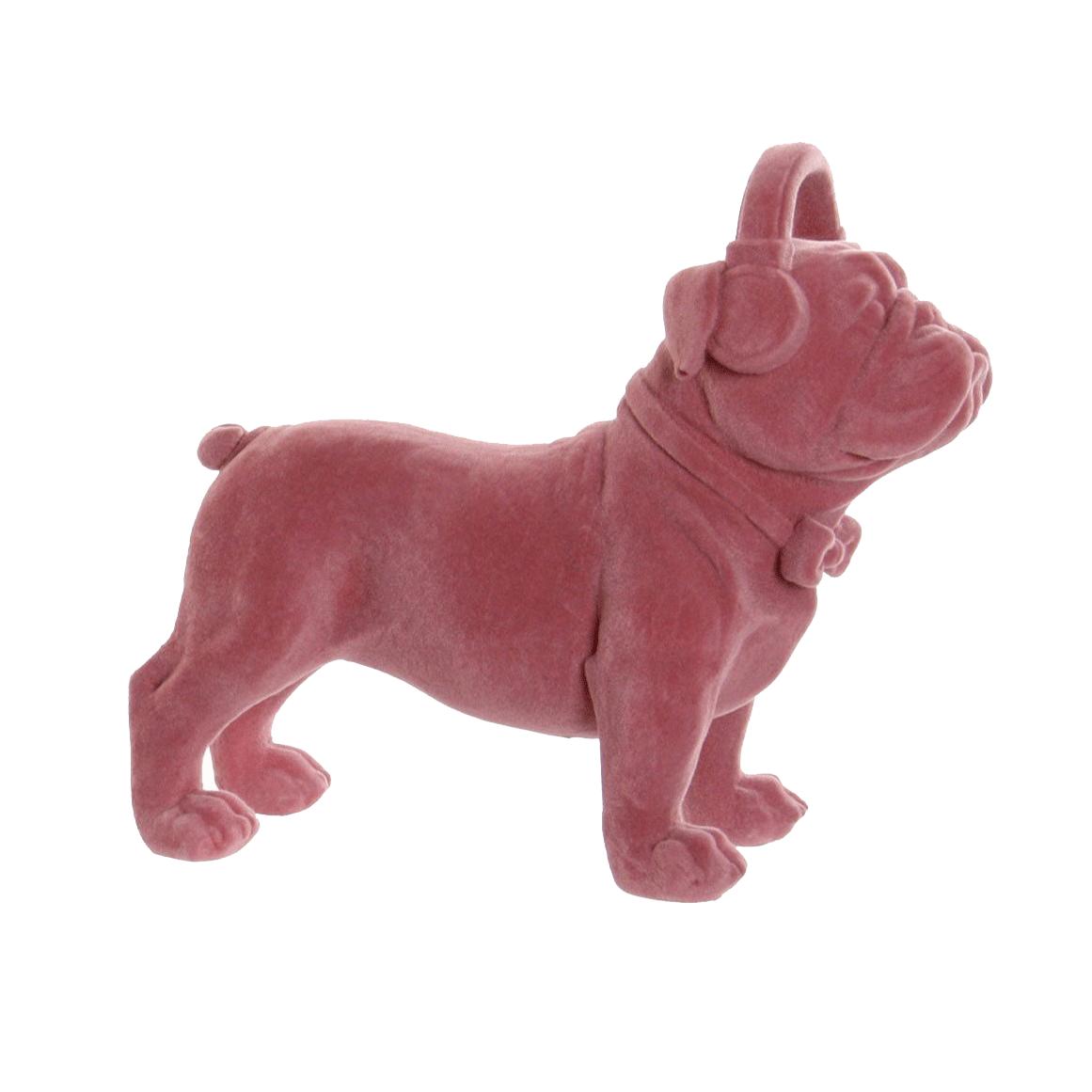Bulldog Flocado Rosa Oscuro